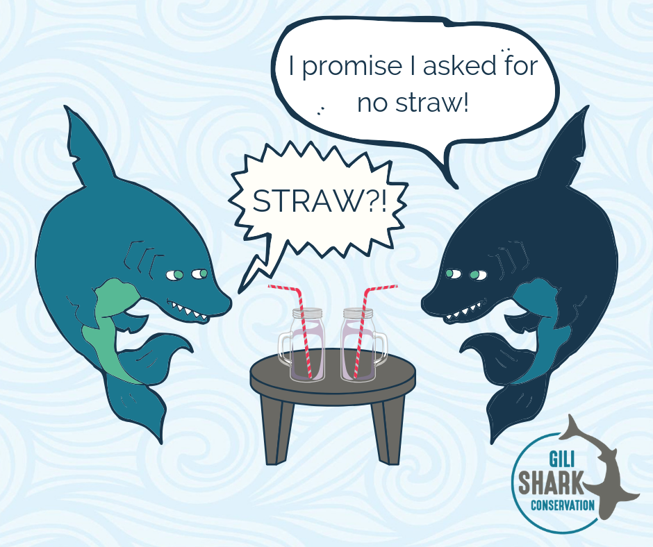 Comic about sharks and plastic straws