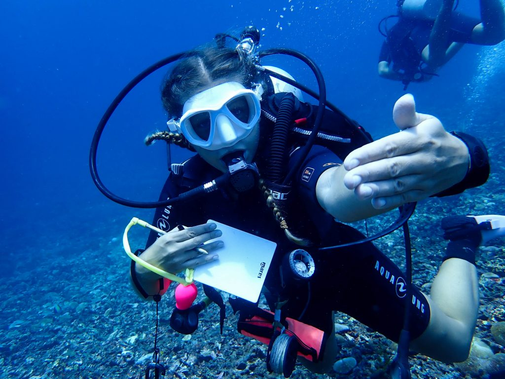 Doing scuba diving in the field of marine conservation means we often use equipment slates and pencils to record our findings underwater.